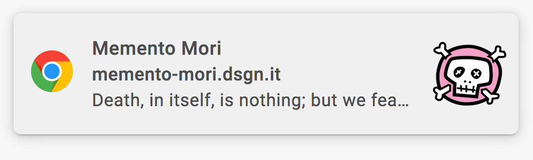Memento Mori notification example